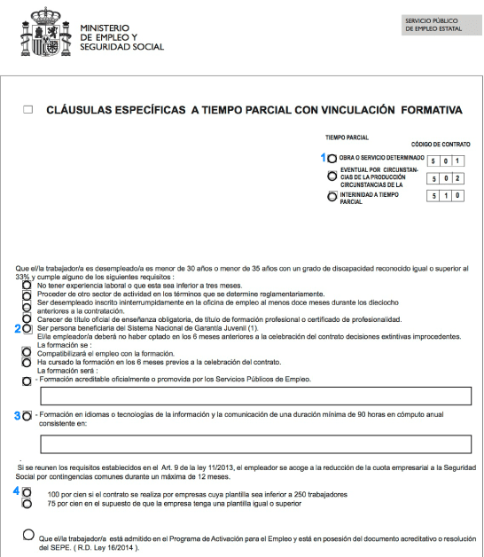 C mo hacer un contrato con vinculaci n formativa para for Modelo contrato indefinido