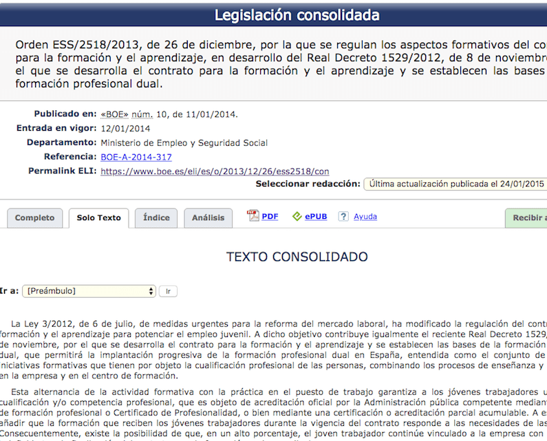 Publicada en el BOE la Orden ESS/2518/2013 que regula los aspectos formativos del contrato de formación