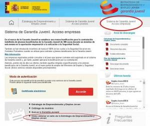 acceso empresas formulario Garantía Juvenil