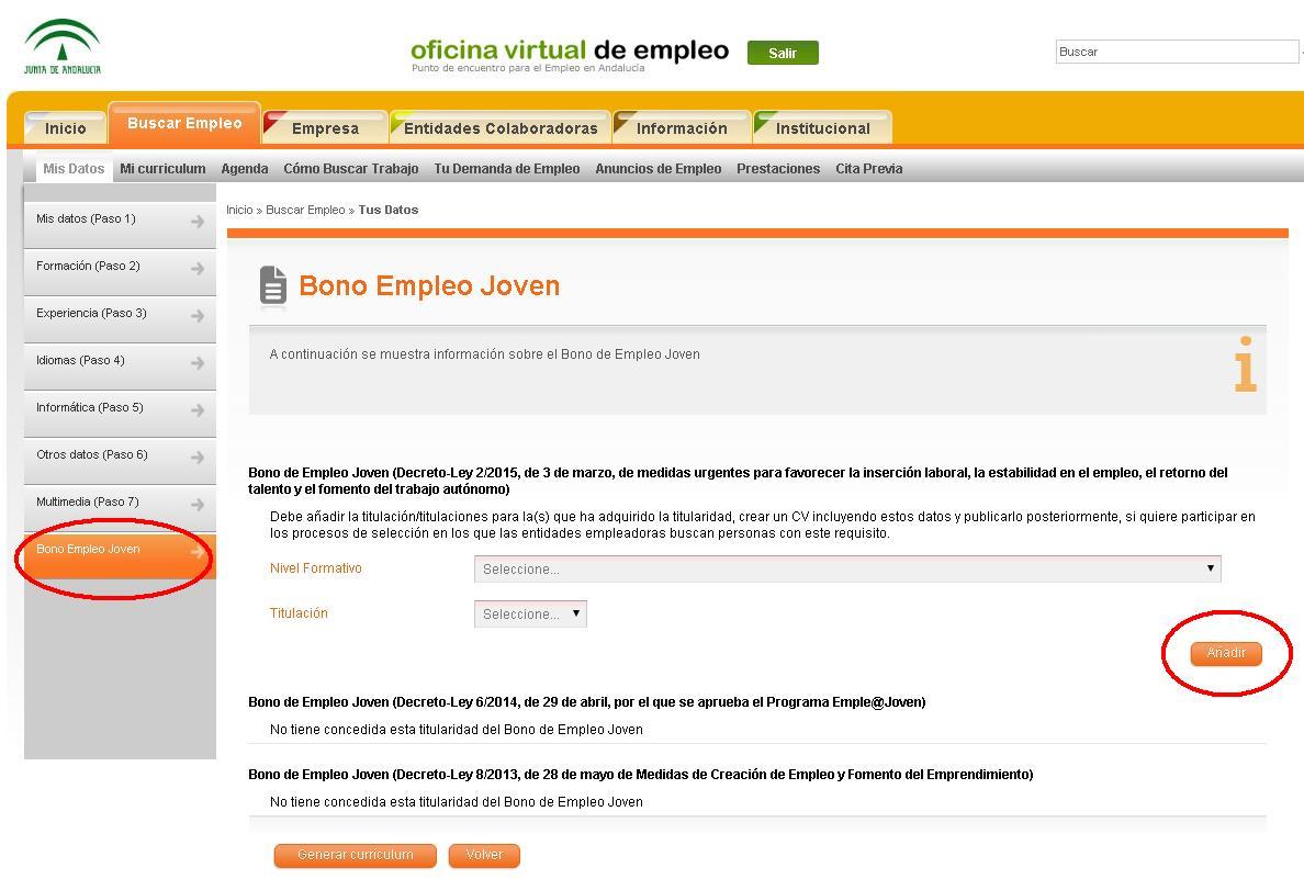 Ya está habilitada la plataforma de Bono Empleo Joven para Andalucía
