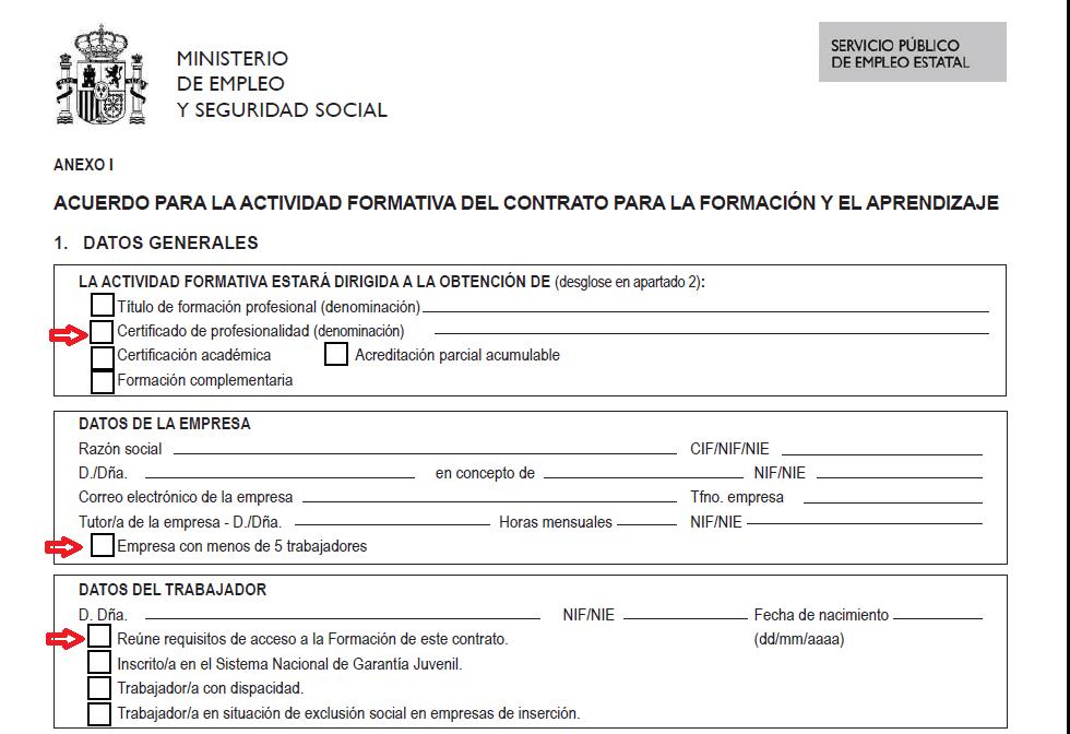 El SEPE ha modificado el modelo oficial del contrato de formación ...