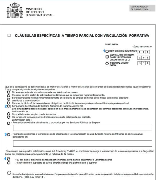 Modelo de contrato a tiempo parcial con vinculación formativa