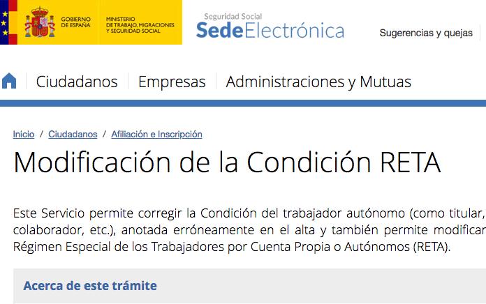 Nuevo servicio de TGSS para modificar las condiciones del autónomo