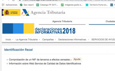 Aviso de AEAT sobre la presentación de declaraciones informativas 2018.