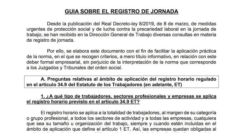 Así es la nueva Guía para el Registro de Jornada del Ministerio de Trabajo