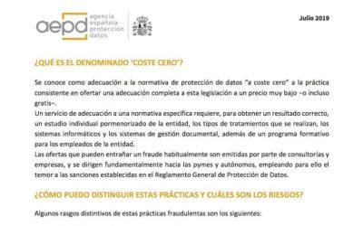 Inspección y AEAT advierten sobre la RGPD a coste cero y sus sanciones
