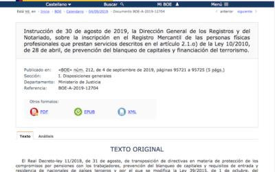 El BOE indica cómo deben inscribirse los asesores en el Registro Mercantil