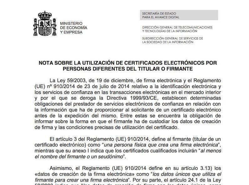 Notificación oficial:  el uso del Certificado Digital por un tercero es ilegal
