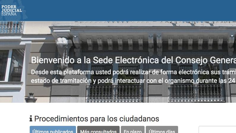 El Consejo General del Poder Judicial estrena sede electrónica donde los ciudadanos podrán realizar sus trámites