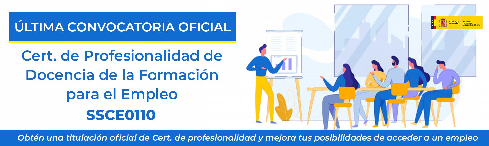 Última convocatoria oficial Certificado de profesionalidad Docencia para el empleo