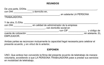 Modelo de acuerdo de teletrabajo obligatorio según la Ley de Teletrabajo