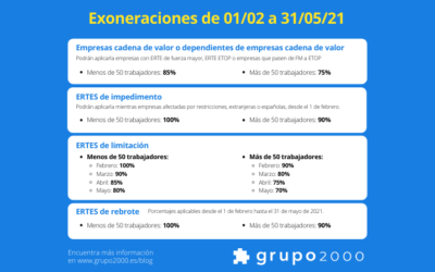 Claves para las exoneraciones de ERTES en Sistema RED desde febrero de 2021