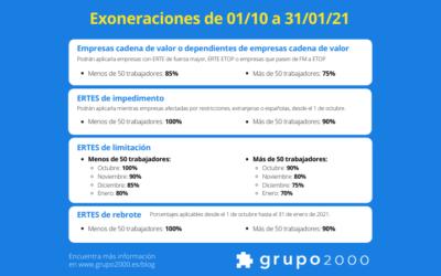 Claves para las exoneraciones de ERTES en Sistema RED desde octubre