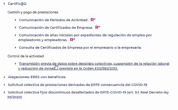 Comunicación previa de la baja de la prestación a realizar por la empresa en un ERTE