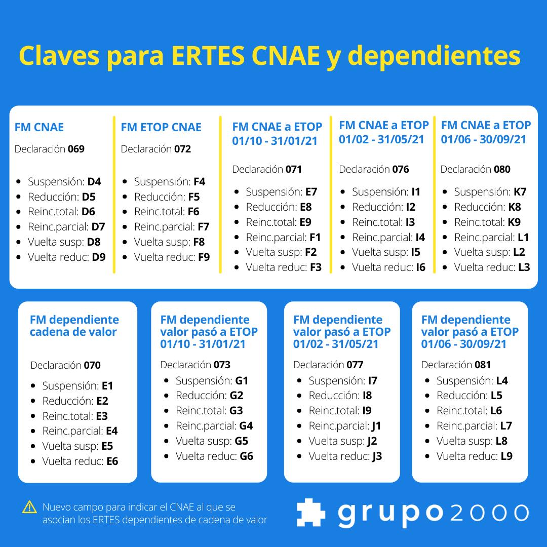 Tabla con las claves para los ERTES en seguridad social de ERTES CNAE o dependientes de cadena de valor entre junio y septiembre de 2021 de Grupo2000