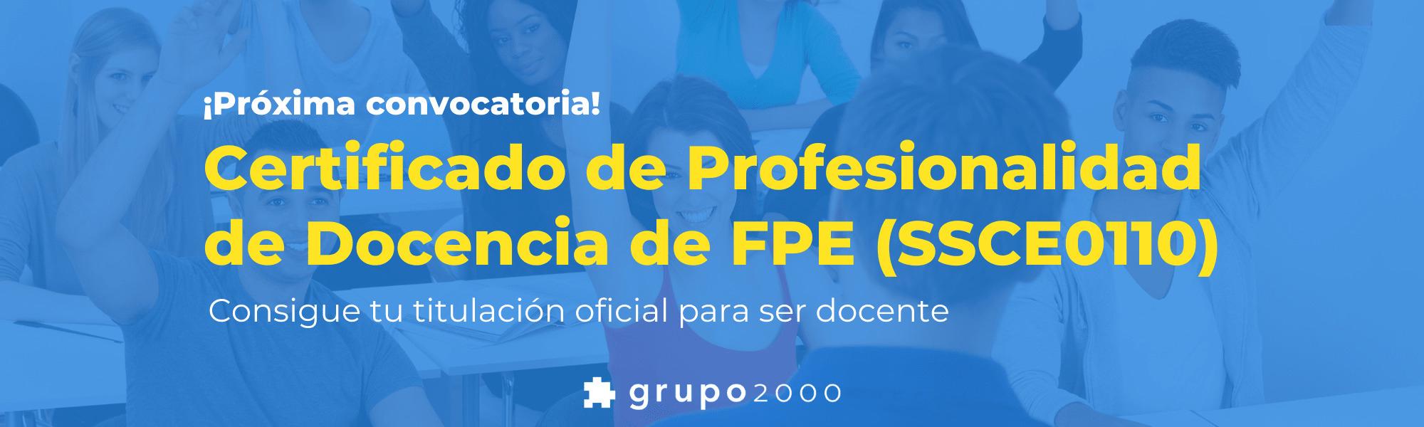 Certificado de Profesionalidad de la Docencia de Formación para el Empleo 2021 (SSCE0110)
